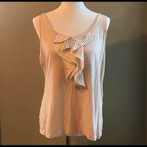 Ann Taylor sleeveless blouse with pleated ruffle